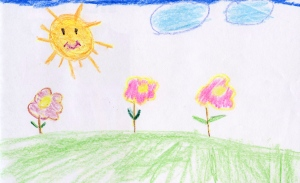 Weather art by Aaron, age 8, from Sir Wilfred Grenfell Elementary School.