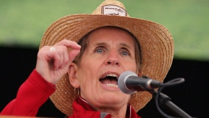 Ontario Premier Kathleen Wynne speaks on the opening day of the International Plowing Match in Walton, Ont. on Tuesday, Sept. 19, 2017. (THE CANADIAN PRESS/Dave Chidley)