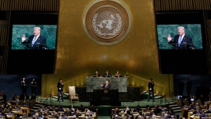 U.S. President Donald Trump addresses the 72nd session of the United Nations General Assembly, at UN headquarters, on Tuesday, Sept. 19, 2017. (AP Photo/Richard Drew)