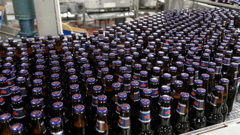 Bottles of Labatt Blue come off the bottle line at the Labatt brewery in London, Ont. in this file photo (The Canadian Press / Labatt Breweries of Canada)