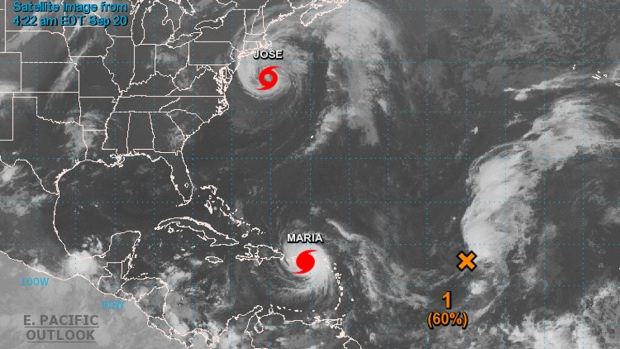 Hurricanes Maria and Jose are seen in this satellite image taken Sept. 20, 2017. (NOAA)