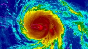 Hurricane Maria churns over Puerto Rico in this enhanced satellite image, Wednesday, Sept. 20, 2017. (NOAA)