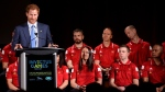 Prince Harry delivers a speech to assembled guests on May 2, 2016 during a ceremony to promote the upcoming 2017 Invictus Games. (Nathan Denette/THE CANADIAN PRESS)