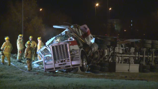 A semi suffered serious damage after a rollover at North Albert Street and Ring Road.