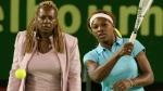 Serena Williams and her mother Oracene in Melbourne, Australia, on Jan. 29, 2005. (Shuji Kajiyama / AP)