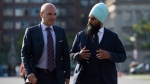 NDP leadership candidate Jagmeet Singh walks with NDP MP Nathan Cullen on Parliament Hill in Ottawa on Wednesday, Sept. 20, 2017. (Sean Kilpatrick / THE CANADIAN PRESS)