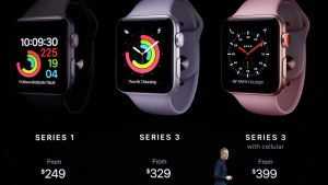 In this Tuesday, Sept. 12, 2017, file photo, Jeff Williams, Apple's chief operating officer, shows new Apple Watch Series 3 products at the Steve Jobs Theater on the new Apple campus in Cupertino, Calif. (AP Photo/Marcio Jose Sanchez, File)