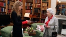 Canadian Governor General Designate Julie Payette, left, meets Britain's Queen Elizabeth II during a private audience at Balmoral Castle, Scotland, Wednesday Sept. 20, 2017. (Andrew Milligan/Pool via AP)