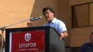 Unifor President Jerry Dias speaks during a rally at a Bombardier aerospace place in Toronto on September 20, 2017.