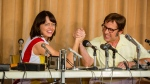 """This image released by Fox Searchlight Pictures shows Emma Stone, left, and Steve Carell in a scene from """"Battle of the Sexes."""" (Melinda Sue Gordon/Fox Searchlight Pictures via AP)"""