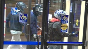 Three people in motorcycle helmets allegedly stole cash from an ATM at the RBC branch on Main Street in Erin. (Wellington County OPP)