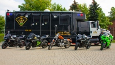 Vehicles seized as part of 'Project Saddle' targeting motorcycle stunt driving are pictured. (Handout /Ontario Provincial Police)