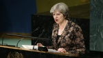 British Prime Minister Theresa May addresses the United Nations General Assembly at UN headquarters, Wednesday, Sept. 20, 2017. (AP / Jason DeCrow)
