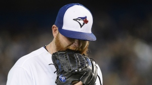 Toronto Blue Jays starting pitcher Brett Anderson (46) reacts after being pulled from the game against the Kansas City Royals during second inning AL baseball action in Toronto on Wednesday, September 20, 2017. (Nathan Denette / THE CANADIAN PRESS)