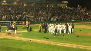 The Goldeyes beat the Wichita Wingnuts 18-2 in the deciding Game 5 of their championship series Wednesday night in front of more than 6,000 fans at Shaw Park.