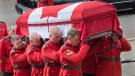 Pallbearers carry the coffin at the regimental funeral for RCMP Const. Francis Deschenes at St. Bernard's Catholic Church in Moncton, N.B. on Wednesday, Sept. 20, 2017. Deschenes was killed after he stopped to help a motorist change a tire and a cargo van slammed into his cruiser. (THE CANADIAN PRESS/Andrew Vaughan)