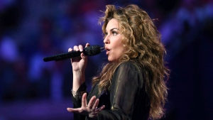 Shania Twain performs during opening ceremonies for the U.S. Open tennis tournament in New York, Monday, Aug. 28, 2017. (THE CANADIAN PRESS/AP-Kathy Willens)
