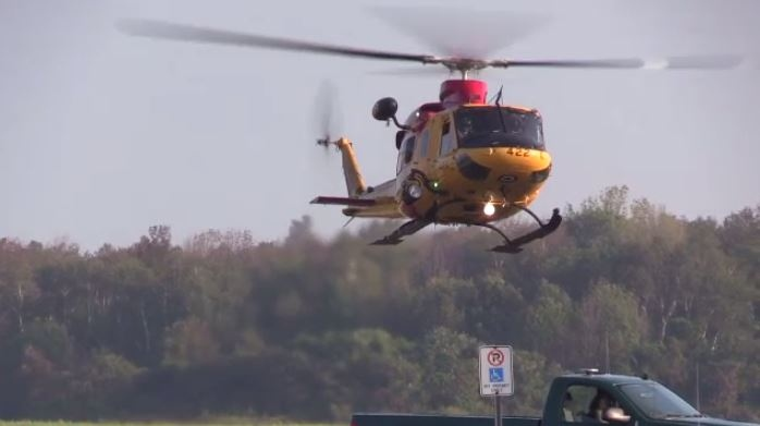 A search and rescue helicopter lands at the Goderich Municipal