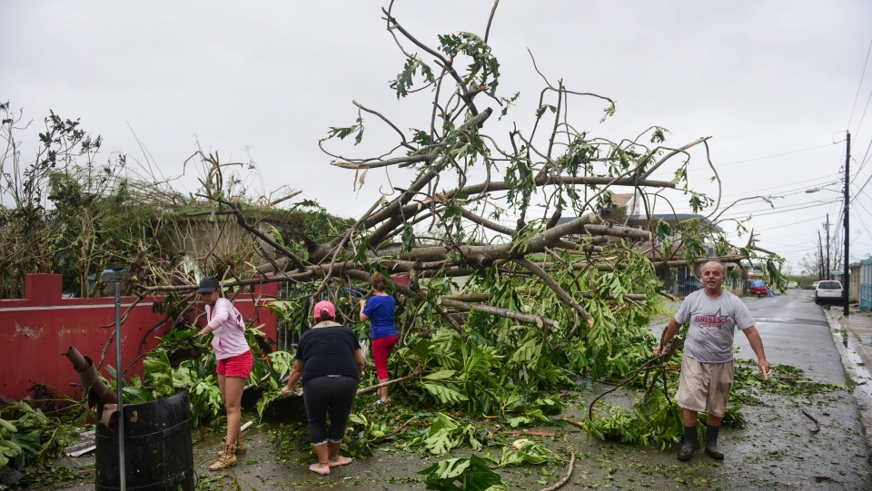 A family helps clean the road after Hurricane Maria hit the eastern region of the island, in Humacao, Puerto Rico, Tuesday, September 20, 2017. (AP Photo/Carlos Giusti)