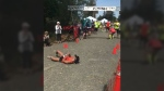 Runner Devon Bieling rolling over the finish line at the Tunnel Vision Marathon on Aug. 20, 2017. (Facebook/ Philip King)