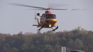 OPP brought in a search and rescue helicopter to help in their search for a missing plane on Thursday, September 21, 2017. (Scott Miller / CTV London)