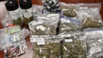 Drugs and cash seized at a marijuana dispensary at 691 Richmond St. in London, Ont. (Courtesy London police)
