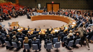 In this file photo, the United Nations Security Council votes on a resolution on Thursday Sept. 21, 2017 at UN headquarters. (AP Photo/Bebeto Matthews)