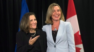 Foreign Affairs Minister Chrystia Freeland gestures to High Representative of the European Union for Foreign Affairs and Security Policy and Vice-President of the European Commission Federica Mogherini before a meeting at the United Nations Headquarters in New York City, Thursday September 21, 2017. THE CANADIAN PRESS/Adrian Wyld
