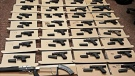 A large amount of guns allegedly seized from a Pickering residence on Wednesday is seen. (Durham Regional Police)