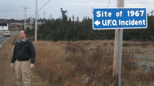 Highway sign identifying the incident location at Shag Harbour.