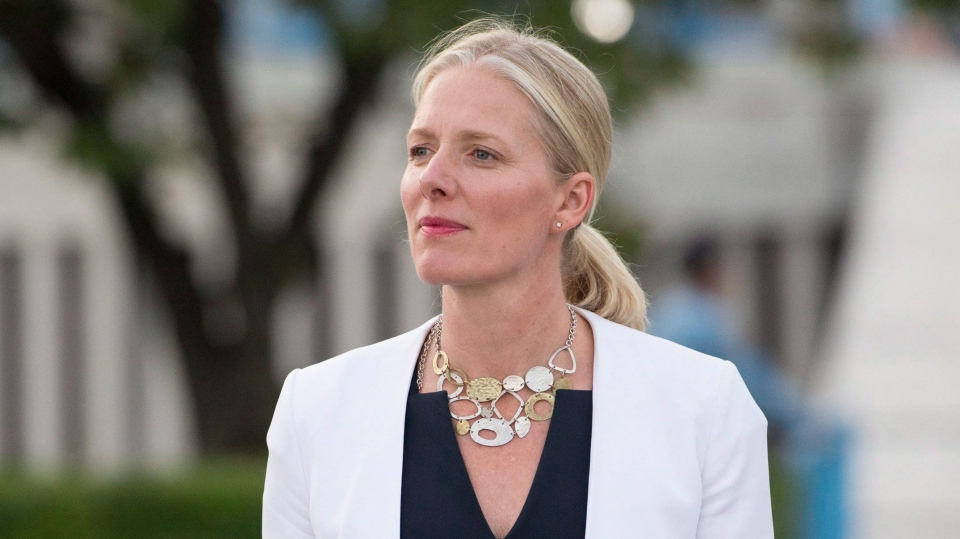 Minister of Environment and Climate Change Catherine McKenna makes her way to speak with media at the United Nations Headquarters in New York City, Wednesday, Sept. 20, 2017. (Adrian Wyld / THE CANADIAN PRESS)