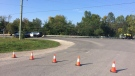 Emergency crews can be seen at a fatal motorcycle crash in Wasaga Beach, Ont. on Thursday, Sept. 21, 2017. (CTV Barrie)