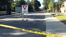 A street in the city's Leaside neighbourhood is blocked off after a suspected armed suspect fled from officers on September 21, 2017. (Tracy Tong/CTV News Toronto)