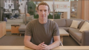 Facebook CEO Mark Zuckerberg discusses possible Russian electoral interference in a Facebook Live video on Thursday, Sept. 21, 2017.