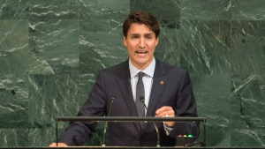 Canadian Prime Minister Justin Trudeau addresses the United Nations General Assembly at the United Nations Headquarters in New York City, Thursday September 21, 2017. THE CANADIAN PRESS/Adrian Wyld
