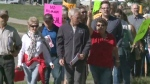 A rally was held in Shediac, N.B., on Thursday in support of Amine Maazaoui, who could face deportation.