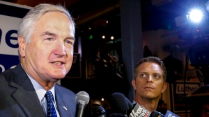 In this Aug. 15, 2017, file photo, Sen. Luther Strange speaks to media after forcing a runoff against former Chief Justice Roy Moore in Homewood, Ala. (AP Photo / Butch Dill, File)