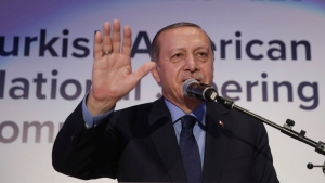 Turkey's President Recep Tayyip Erdogan addresses a Turkish-American group meeting in New York, Thursday, Sept. 21, 2017. (Pool Photo via AP)