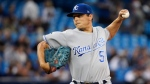 Kansas City Royals starting pitcher Jason Vargas (51) works against the Toronto Blue Jays during first inning AL baseball action in Toronto on Thursday, September 21, 2017. (Nathan Denette/The Canadian Press)