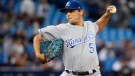 Kansas City Royals starting pitcher Jason Vargas (51) works against the Toronto Blue Jays during first inning AL baseball action in Toronto on Thursday, September 21, 2017. THE CANADIAN PRESS/Nathan Denette