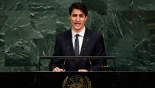 Prime Minister Justin Trudeau of Canada addresses the United Nations General Assembly, at U.N. headquarters, Thursday, Sept. 21, 2017. (AP Photo/Richard Drew)