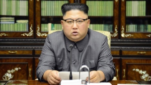 """In this Thursday, Sept. 21, 2017, photo distributed on Friday, Sept. 22, 2017, by the North Korean government, North Korean leader Kim Jong Un delivers a statement in response to U.S. President Donald Trump's speech to the United Nations, in Pyongyang, North Korea. Kim, in an extraordinary and direct rebuke, called Trump """"deranged"""" and said he will """"pay dearly"""" for his threats, a possible indication of more powerful weapons tests on the horizon. Independent journalists were not given access to cover the event depicted in this image distributed by the Korean Central News Agency via Korea News Service. The content of this image is as provided and cannot be independently verified. (Korean Central News Agency/Korea News Service via AP)"""