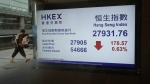 A man is reflected in a glass as an electronic stock board shows the Hang Seng Index at a bank in Hong Kong on Friday, Sept. 22, 2017. (AP / Kin Cheung)