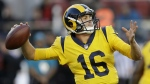 Los Angeles Rams quarterback Jared Goff throws a pass against the San Francisco 49ers during the first half of an NFL football game in Santa Clara, Calif. on Thursday, Sept. 21, 2017. (AP / Ben Margot)