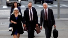 David Livingston (centre), chief of staff to former Ontario premier Dalton McGuinty, arrives at court in Toronto with his lawyer Brian Gover (right) on Monday, Sept. 11, 2017. Livingston and his deputy Laura Miller face allegations they illegally destroyed documents related to a government decision to scrap two gas plants ahead of the 2011 provincial election. THE CANADIAN PRESS/Colin Perkel