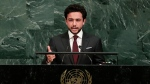 Jordan's Crown Prince Al Hussein bin Abdullah II addresses the United Nations General Assembly Thursday, Sept. 21, 2017, at the United Nations headquarters. (AP Photo/Frank Franklin II)