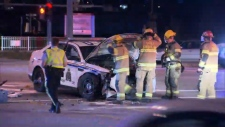 A B.C. Mountie and another driver were taken to hospital after a crash involving an RCMP cruiser on the Lougheed Highway on Sept. 22, 2017. (CTV)