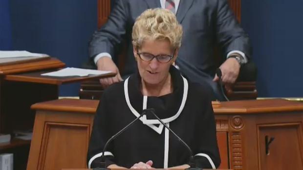 Ontario Premier Kathleen Wynne addresses Quebec's National Assembly on Sept. 21, 2017