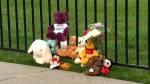 A makeshift memorials made of stuffed toys sits near a parking spot where a toddler was found in a hot car and later died.