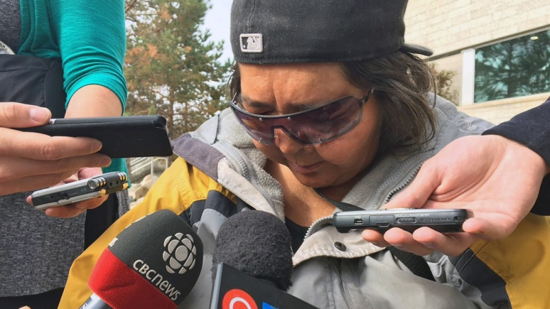 Marlene Bird, a Prince Albert woman who was attacked and set on fire in June 2014, speaks to media following the sentencing of Leslie Black on Friday, Sept. 22, 2017. (Allison Bamford/CTV Saskatoon)